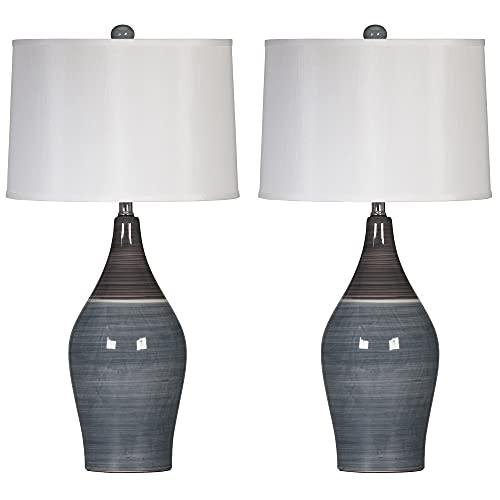 Signature Design by Ashley Niobe Glazed Ceramic Table Lamp, Set of 2, 28', Multicolored & Gray