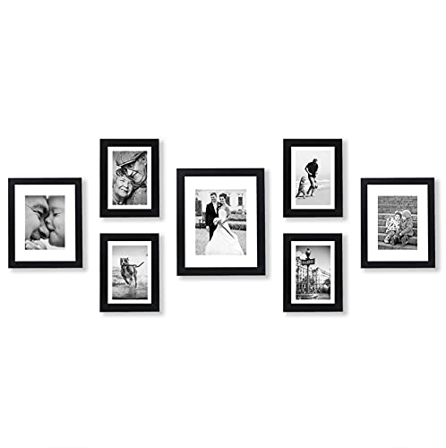 Americanflat 7 Piece Gallery Wall Set - Displays One 11x14, Two 8x10, and Four 5x7 inch photos - Shatter-Resistant Glass - Hanging Hardware Included