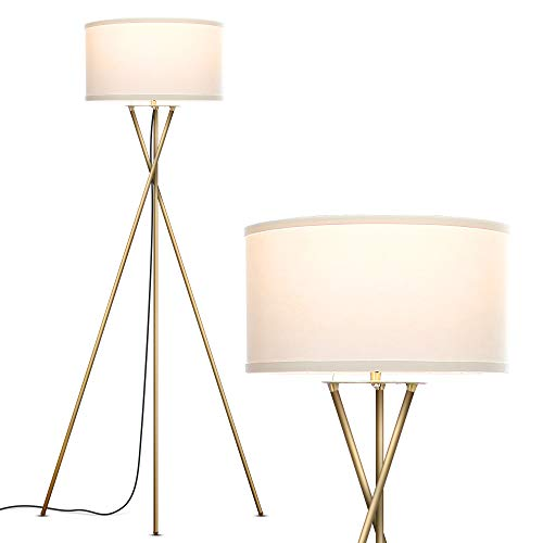 Brightech Jaxon Tripod LED Floor Lamp – Mid Century Modern, Living Room Standing Light – Tall, Contemporary Drum Shade Lamp for Bedroom or Office – Brass / Gold