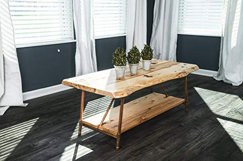 Niangua Furniture Live Edge Rustic Coffee Table - Hickory Wood - Metal Copper Pipe Legs - 48' x 23'