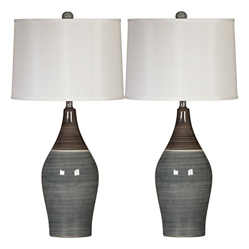 Signature Design by Ashley - Niobe Ceramic Table Lamp - Set of 2 - Multicolored/Gray