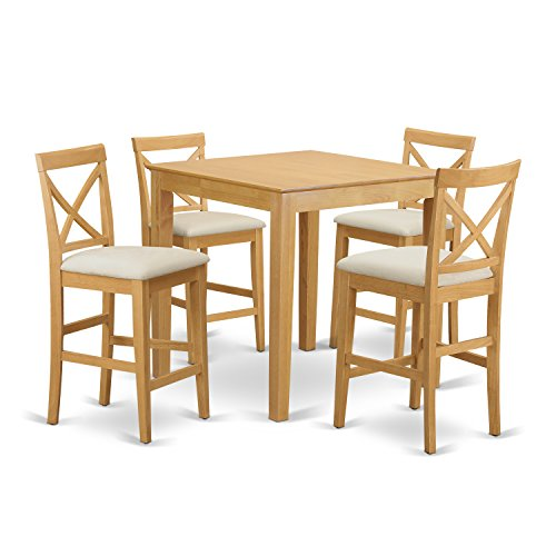 PUBS5-OAK-C 5 Pc Counter height Table-counter height Table and 4 Kitchen counter Chairs