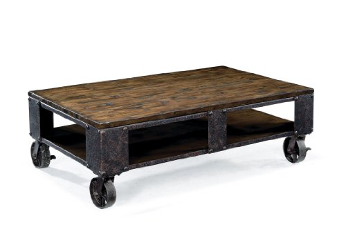 Magnussen T1755 Pinebrook Distressed Natural Pine Wood Rectangular Cocktail Table