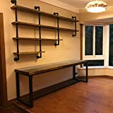 MBQQ 4-Tiers 63inch Industrial Pipe Shelving,Rustic Wooden&Metal Floating Shelves,Home Decor Shelves Wall Mount with Wine Rack,Decorative Accent Wall Book Shelf for Kitchen or Office Organizer,Black
