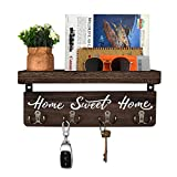 buways Wall-Mounted Key and Mail Holder, Wooden Key Rack with 4 Double Key Hooks, Rustic Home Decor for Entryway