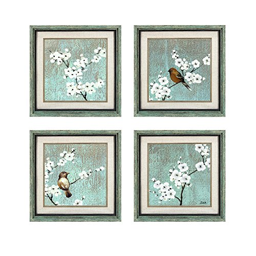 Dzhan Wall Art Canvas Prints The Birds 4 Pieces 16x16 Inches Original Framed Decorative Artwork on Canvas Framed Oil Paintings Reproduction for Living Room Home Decorations