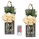 Remote Mason Jars Sconce - Rustic Home Decor,Wrought Iron Hooks, Silk Hydrangea and LED Strip Lights Design 7 Hour Timer Home Decoration