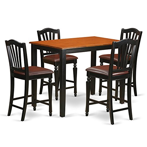 YACH5-BLK-LC 5 PC Dining counter height set-pub Table and 4 counter height Dining chair