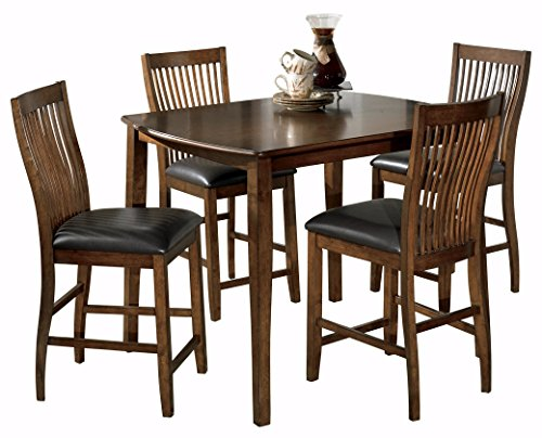 Ashley Furniture Signature Design - Stuman Dining Room Table and Barstools Set - Counter Height - Set of 5 - Medium Brown