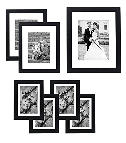 Americanflat 7 Pack Gallery Wall Set | Displays One 11x14, Two 8x10, and Four 5x7 inch photos. Shatter-Resistant Glass. Hanging Hardware Included!
