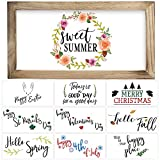 """Farmhouse Wall Decor Signs With 10 Interchangeable Sayings – Perfect For 4th of July and Summer Decoration - Beautiful 9X17"""" Rustic Wood Picture Frame with 10 Designs – Easy To Hang Summer Decor For Your Home"""
