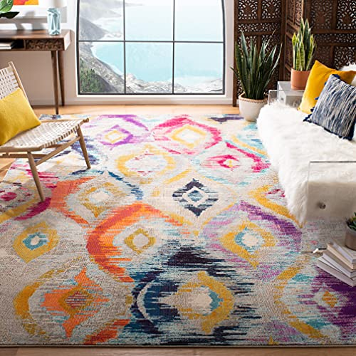 Safavieh Monaco Collection MNC242F Ogee Trellis Watercolor Distressed Non-Shedding Living Room Bedroom Area Rug, 5'1' x 7'7', Multi
