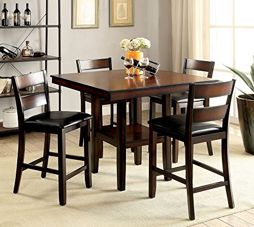 William's Home Furnishing CM3351PT-5PK Norah II Counter Height Table Set, Brown Cherry