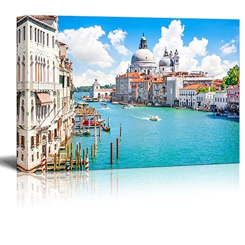 Canvas Prints Wall Art - Beautiful Landscape/Scenery Grand Canal with Basilica Di Santa Maria Della Salute, Venice, Italy | Modern Wall Art Stretched Gallery Canvas Wrap Giclee 24' x 36'