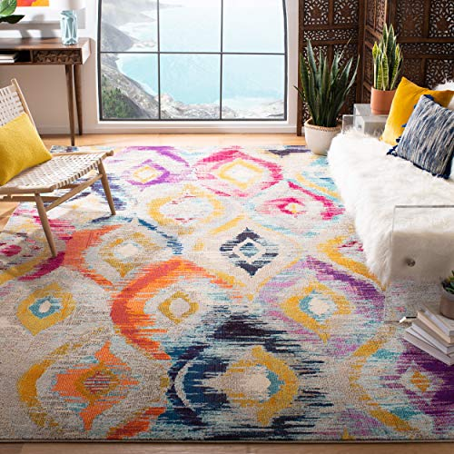 Safavieh Monaco Collection MNC242F Modern Geometric Ogee Watercolor Multicolored Distressed Area Rug (5'1' x 7'7')