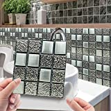 10pcs 3D Crystal Tile Stickers DIY Waterproof Self-Adhesive Wall Stickers for Home Decor Living Room Bathroom Kitchen Decor DIY (G)