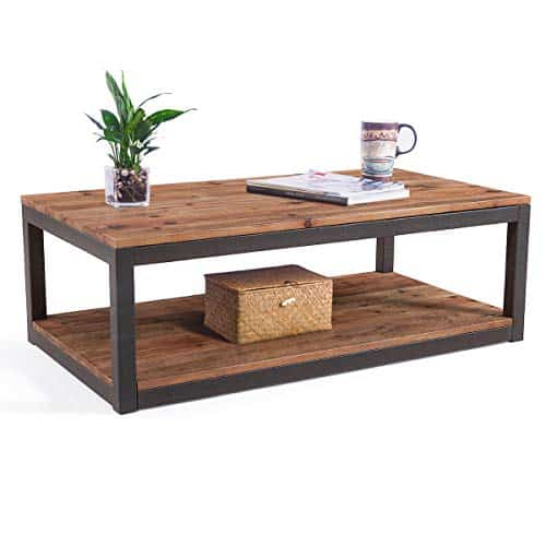 Care Royal Vintage Farmhouse 43 3 Inches Coffee Table With Storage Shelf For Living Room Accent Tail Real Natural Reclaimed